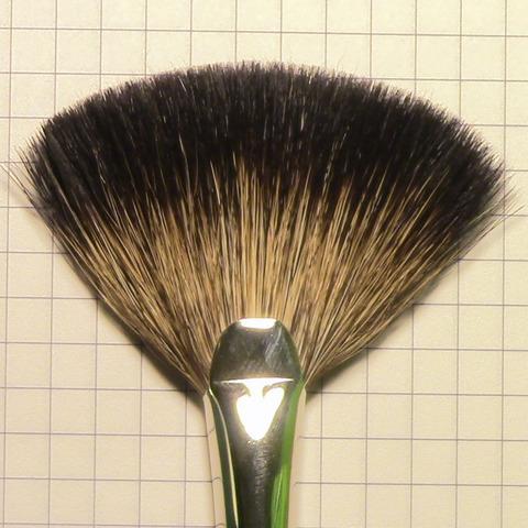 Кисть веерная №8 для завершения макияжа / ворс енота / черная ручка / М-Е00140008