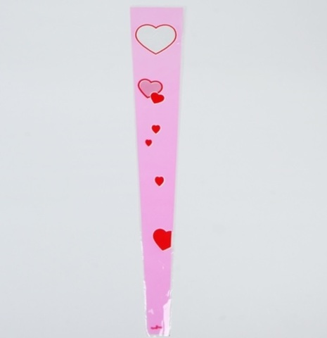 Пакет цветочный Конус на 1 розу Сердца (размер: 15/80) Цвет: розовый/белый/красный (упаковка: 50 шт.)