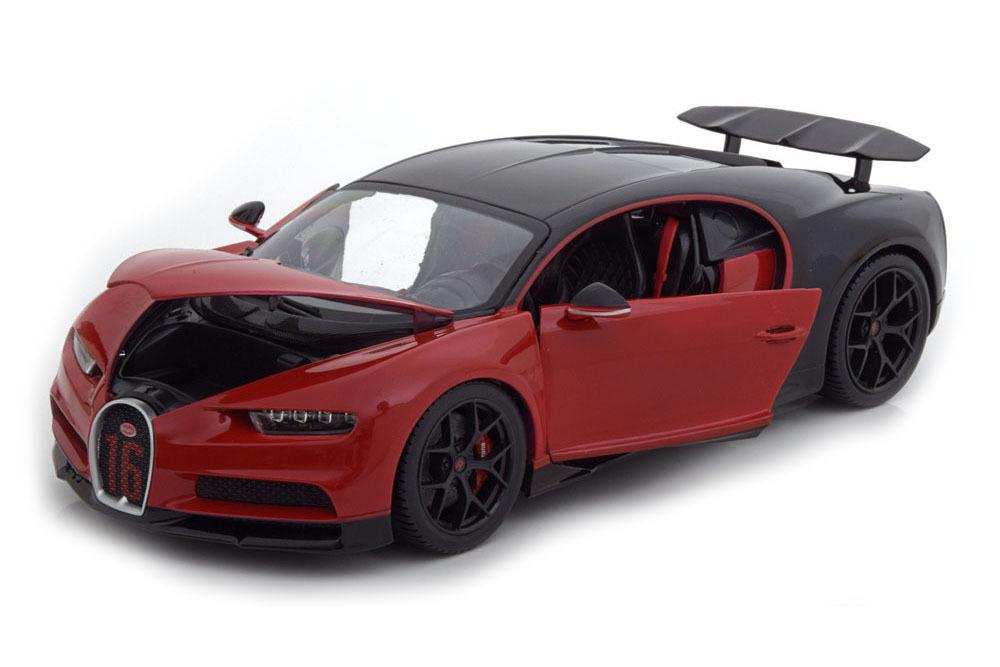 Коллекционная модель BUGATTI CHIRON SPORT NUMBER #16 2020 RED/BLACK