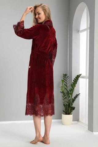 Халат женский велюровый с кружевом Kleopatra 0383 бордо NUSA Турция