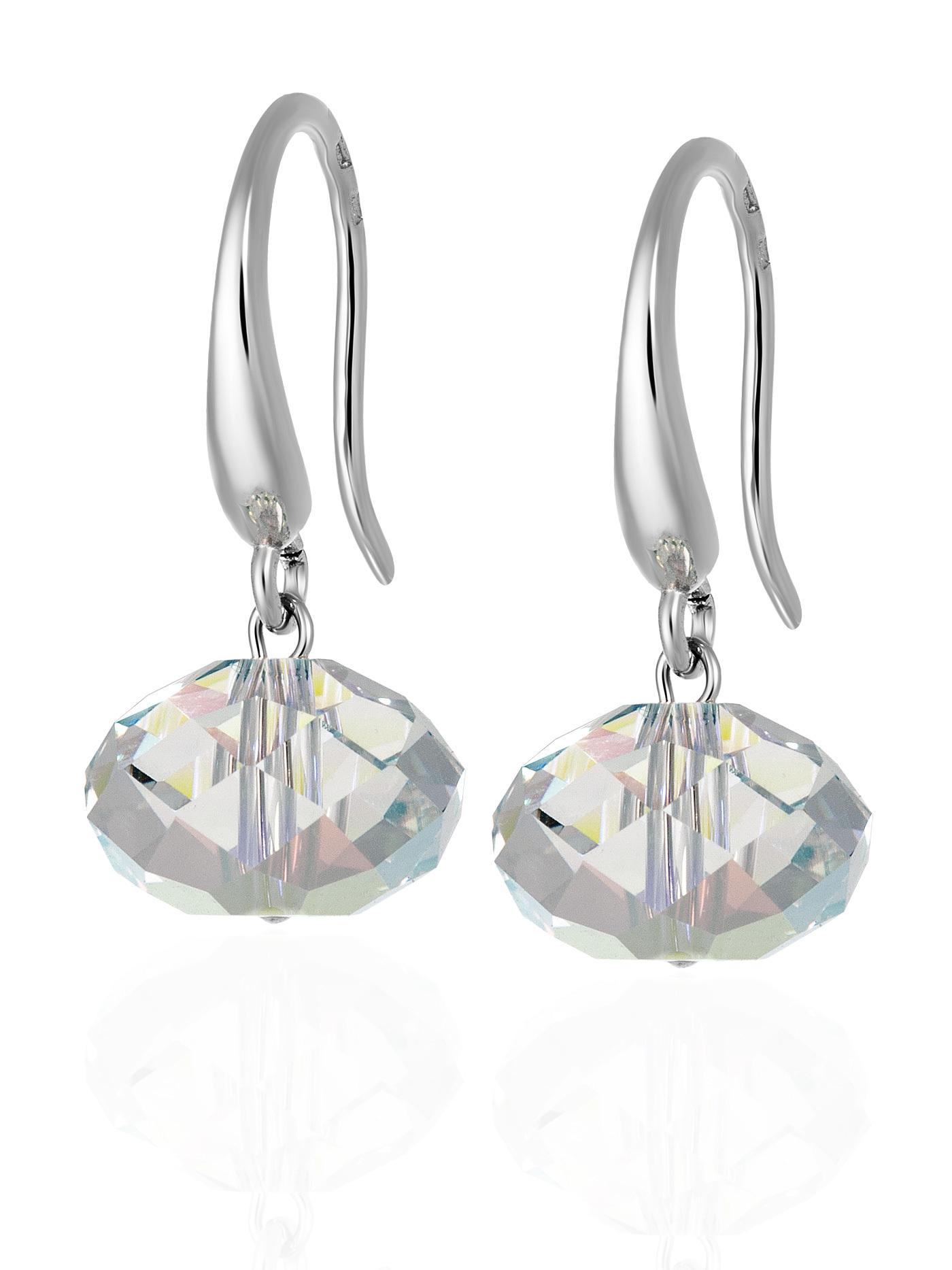 Серебряные серьги с зеркальными кристаллами Swarovski