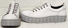 Модные кеды кроссовки женские кожаные Guero G146 508 04 White Gray.