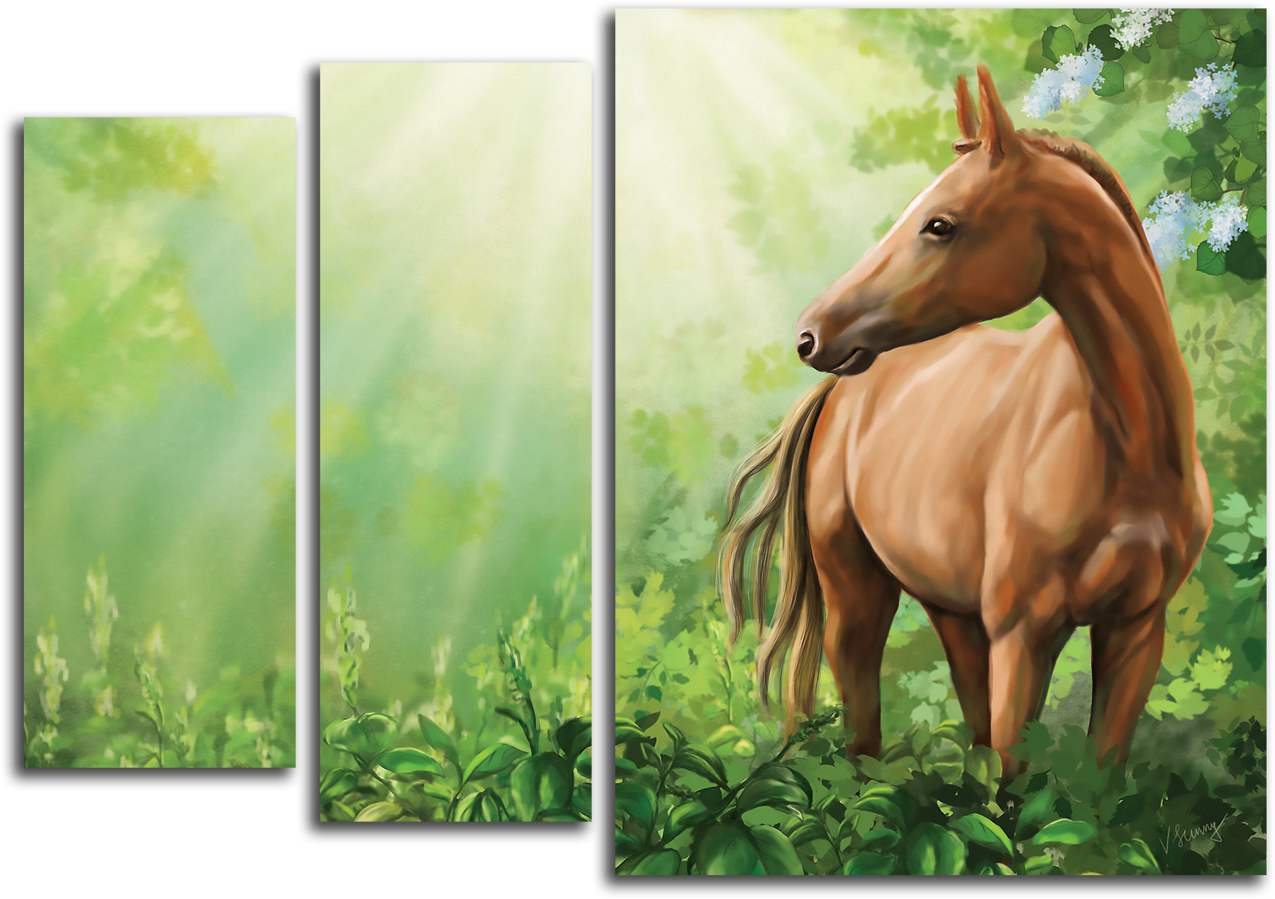 """Животные Модульная картина """"Дикая лошадь"""" М537.png"""