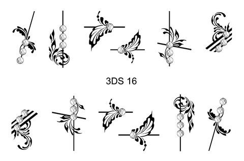 3D слайдер для ногтей со стразами, 3DS- 16
