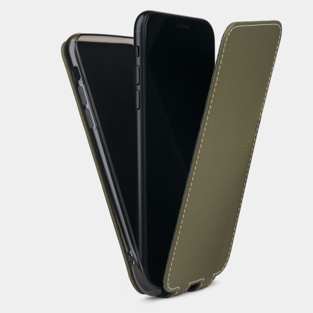 Чехол для iPhone 8 Plus из натуральной кожи теленка, зеленого цвета