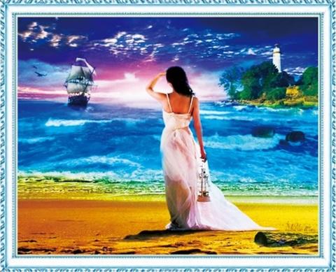 Алмазная Мозаика 40x50 Девушка любуется кораблем с берега (арт. MGL8013 )