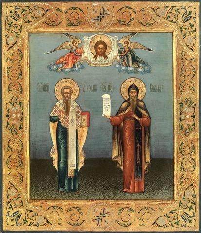 Икона святые Кирилл и Мефодий на дереве на левкасе мастерская Иконный Дом