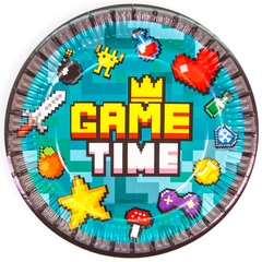 Тарелки бумажные, Game Time, Пиксели, 18 см, 6 шт.