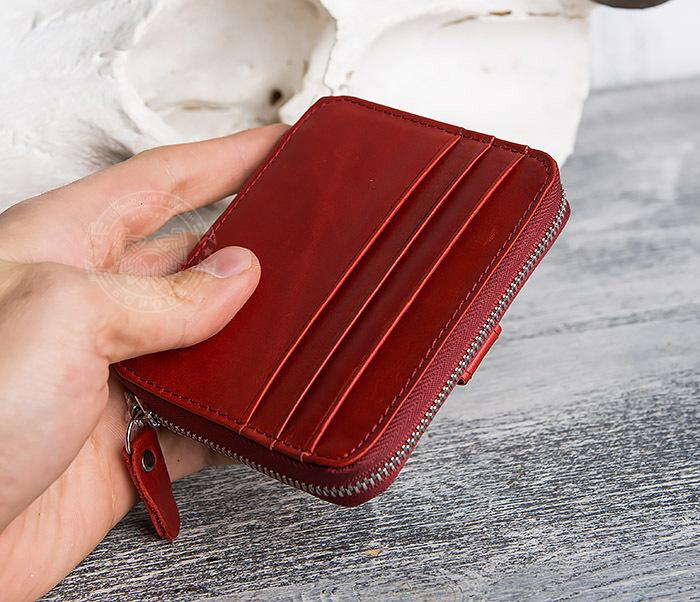 WL289-3 Красный кошелек из натуральной кожи на молнии фото 09