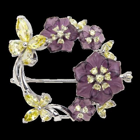 Брошь с цветами из фиолетового кварца и фианитами