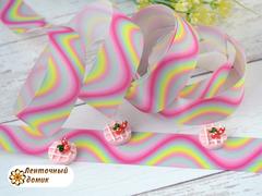 Лента репсовая Волны розово-голубые 25 мм