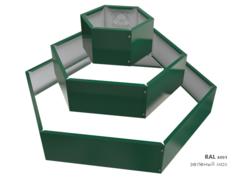 Клумба многоугольная оцинкованная Альпийская горка 3 яруса RAL 6005 Зеленый мох