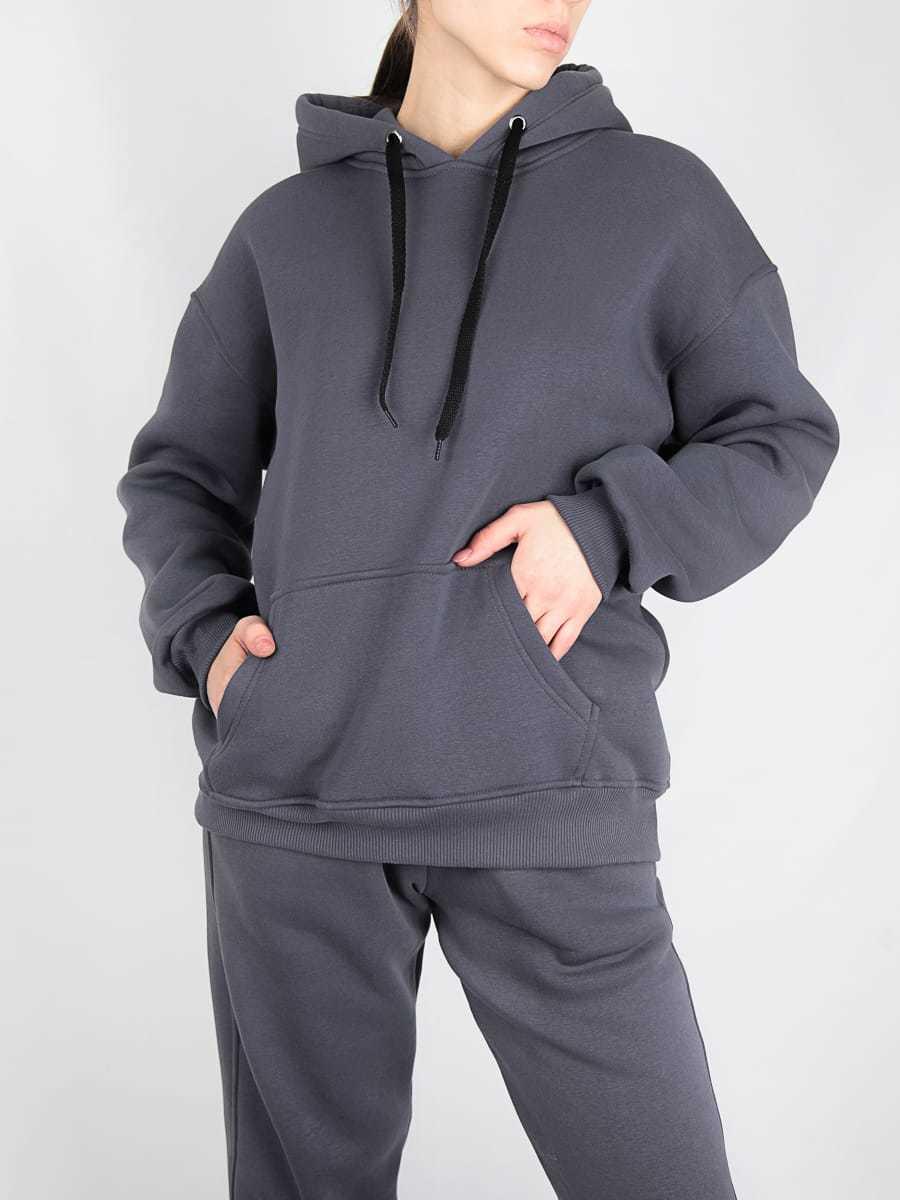 Комплект женский толстовка с карманами и брюками