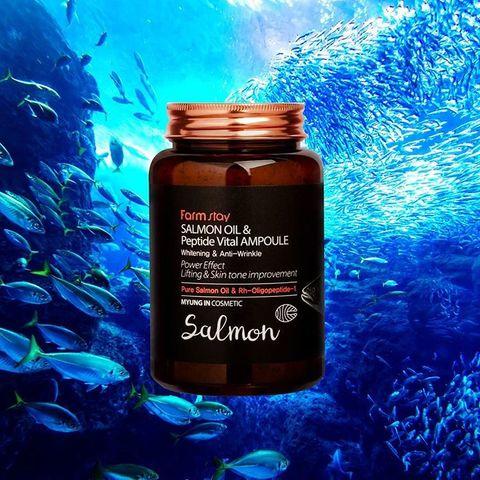 Многофункциональная ампульная сыворотка с маслом лосося и пептидами FarmStay