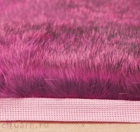 Меховая лента из кролика на прочной тесьме, серо-розовая, ширина 2.5 см