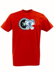 Футболка с принтом Знаки Зодиака, Близнецы (Гороскоп, horoscope) красная 004