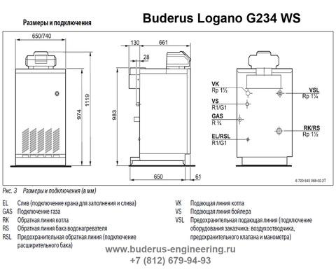Buderus Logano G234-44WS Газовый Напольный Чугунный Атмосферный котел (RU-TOP) Размеры и Подключения