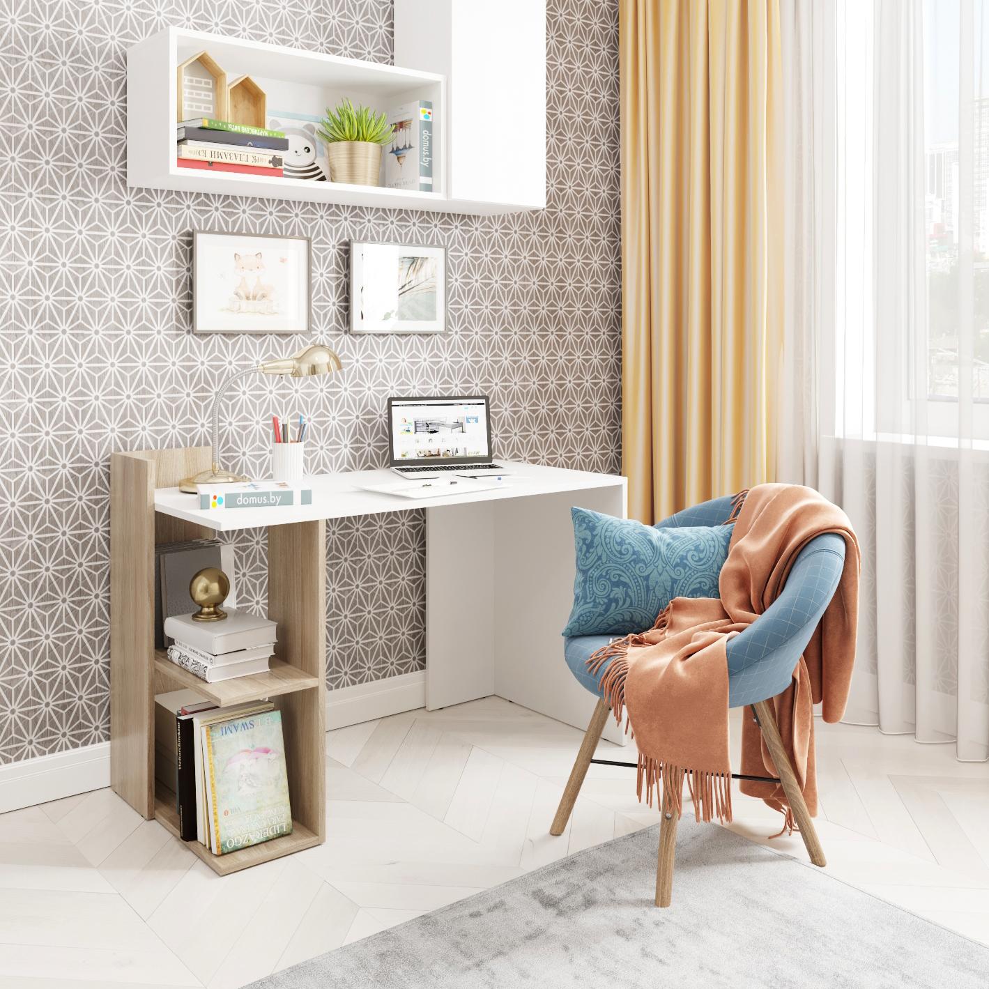 Письменный стол ДОМУС СП017 белый/вяз светлый
