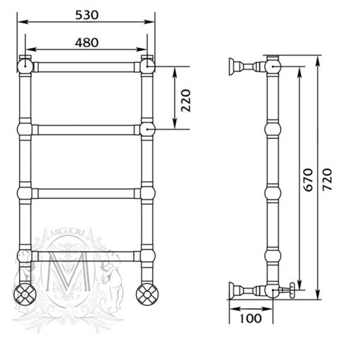 Полотенцесушитель водяной Migliore Colosseum ML.CLS-HY.400 схема