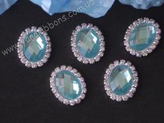 Камни овальные в стразовом обрамлении голубые