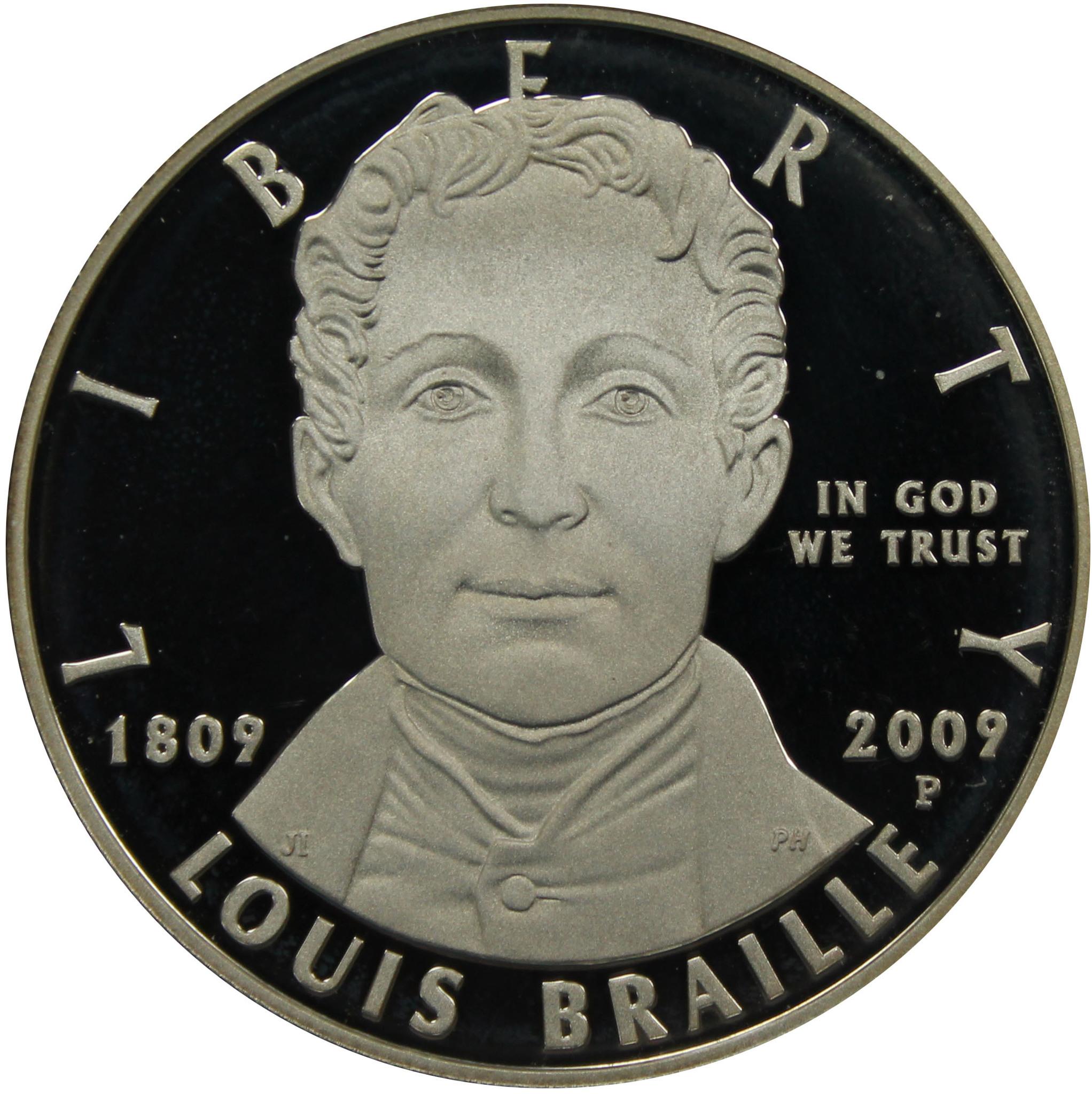 1 доллар Луи Брайль. 200 лет со дня рождения Двор Р 2009 г США Proof