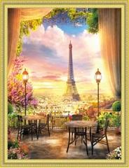 Алмазная Мозаика 50x65 Кафе с видом на Эйфелеву башню