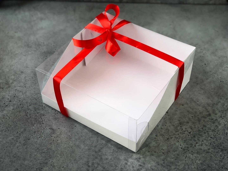 Коробка для торта с прозрачной крышкой 23,5х23,5х10 cм, БЕЛАЯ