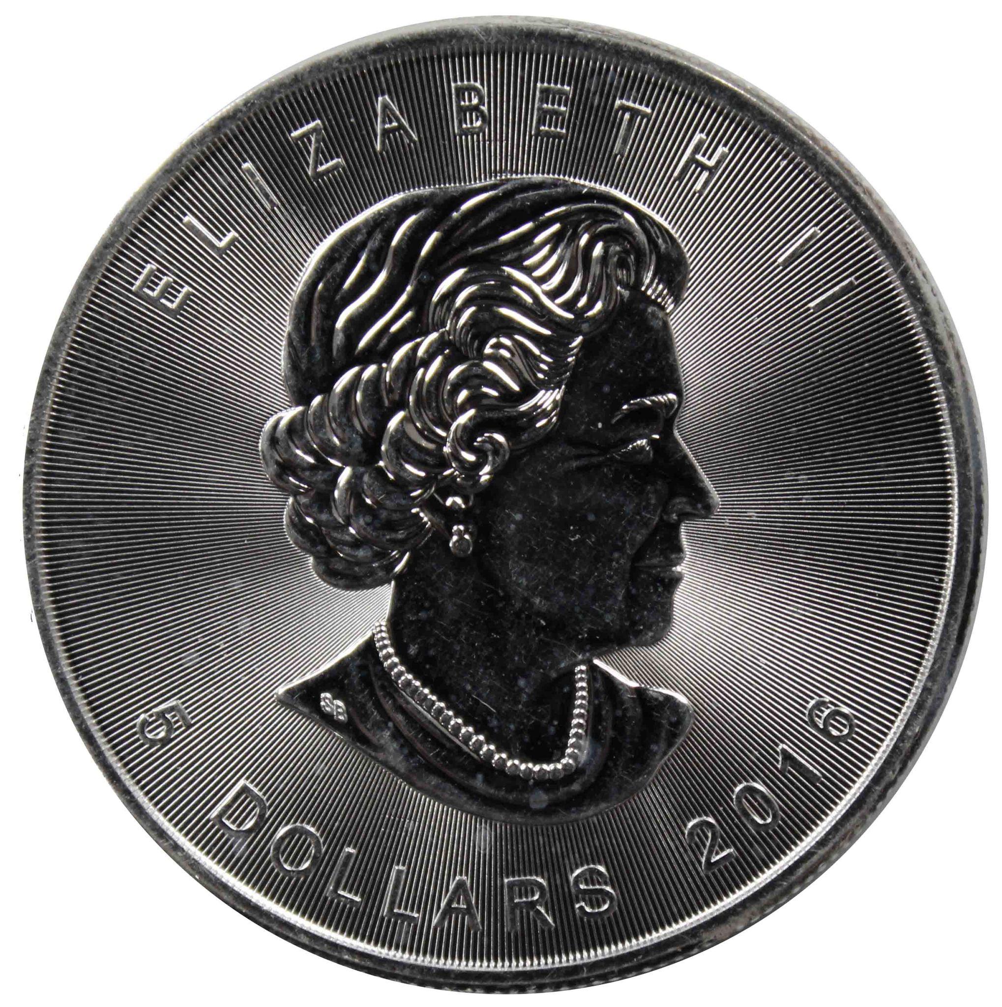 5 долларов 2016. 1 унция, Канада, Кленовый лист. AU. Серебро