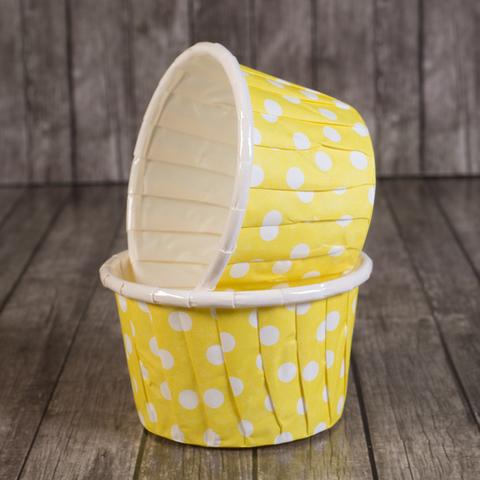 Форма бумажная капсула Маффин желтый/белый горох 100 шт 50х40 мм