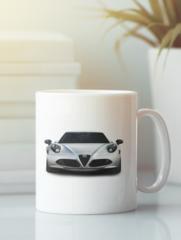 Кружка с рисунком Альфа Ромео (Alfa Romeo) белая 002