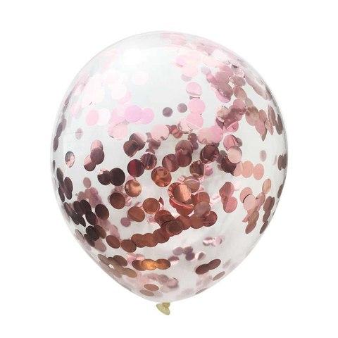 Латексный воздушный шар, с конфетти розово-золотые круги