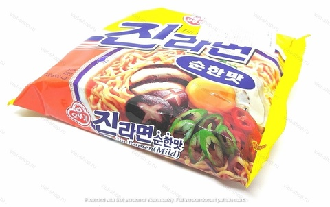 Корейская пшеничная лапша Ottogi (Оттоги) Jin Ramen (Mild) со вкусом грибов, 120 гр.