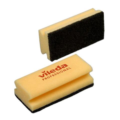 Губка для посуды Vileda черный абразив желтая 102565 7х15 10шт/уп