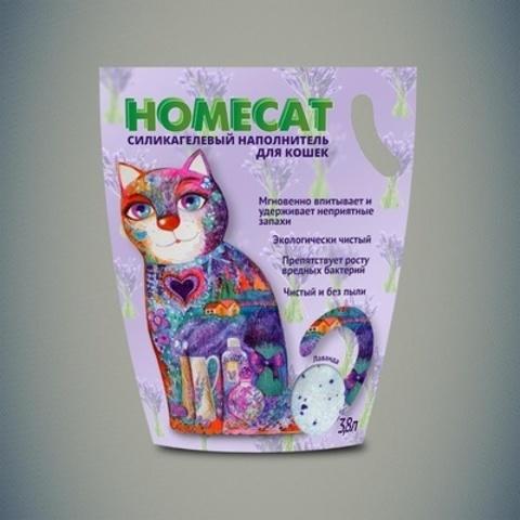 HOMECAT Лаванда силикагелевый наполнитель для кошачьих туалетов с ароматом лаванды 12,5л