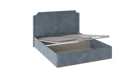 Кровать «Кантри» с мягкой обивкой и подъемным механизмом тип 1 (Замша синяя)