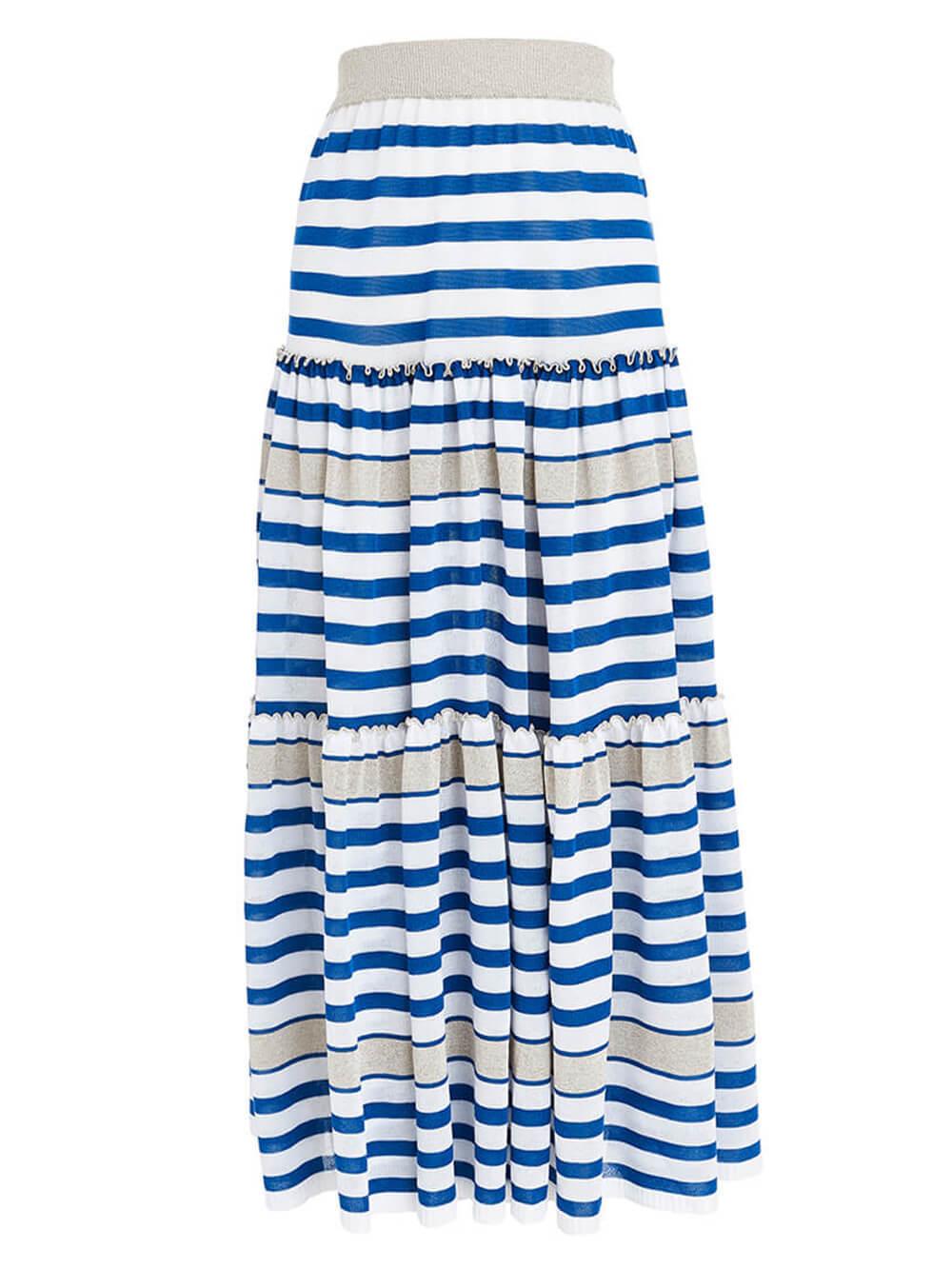 Женская юбка в бело-синюю полоску из вискозы - фото 1