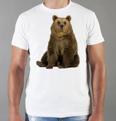Футболка с принтом Медведь, Медвежонок (Bear) белая 008