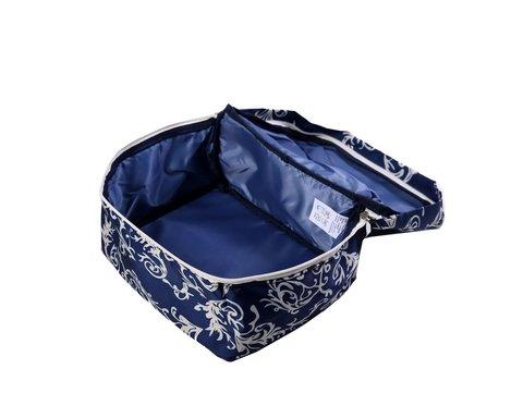 Мягкая сумка для мелких вещей, XS, 25*20*16 см (темно-синяя с узорами)