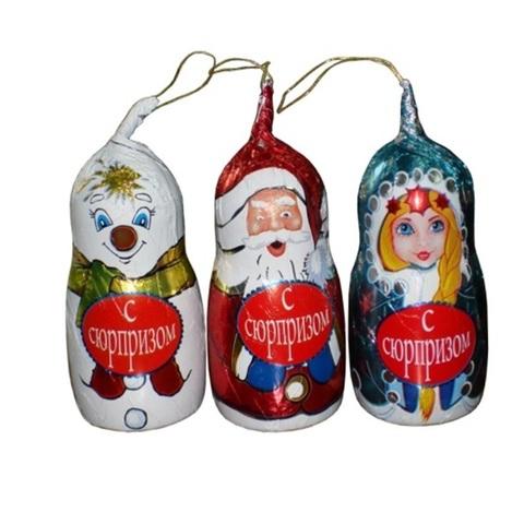 Ассорти Дед Мороз, Снегурочка, Снеговик с/с на нитке 1кор*6бл*16шт 35гр.