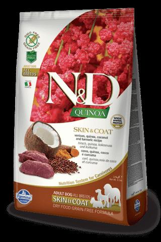 купить Farmina N&D Quinoa Skin & Coat Venison сухой беззерновой корм для собак всех пород, поддержка здоровья кожи и шерсти