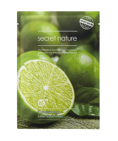 Бодрящая маска для лица с лаймом  - Secret Nature Conditioning Lime Mask Sheet