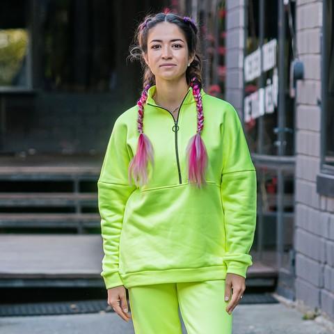 Warm jacket for women - Neon Green