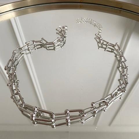 Колье-цепь с U-звеньями серебристый (сталь, родирование)