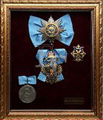 Орденский набор св. Андрея Первозванного в раме (копии)