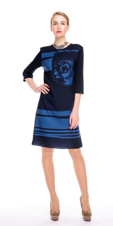 Платье З140-378 - Платье прямого силуэта, с оригинальным принтом в виде графичной розы на груди и однотонной спинкой. Комфортный рукав 3/4. Прекрасно сиди на фигуре любого типа. Модель для офиса и на каждый день.