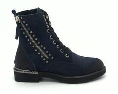 Синие ботинки на высокой шнуровке