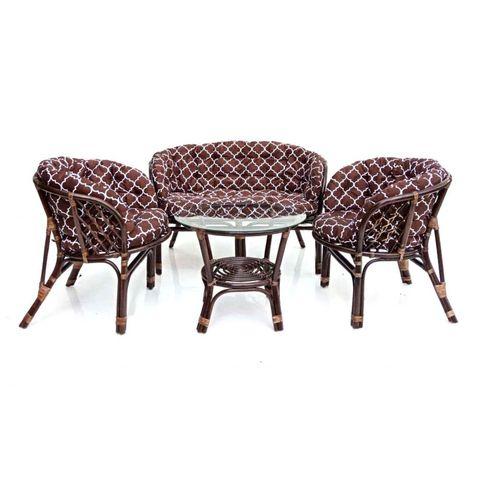 Комплект кофейный БАГАМА (стол+2 кресла+диван, подушка твил с принтом), MJ BHM001