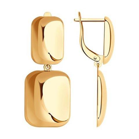 029242 -  Золотые серьги с квадратными подвесками