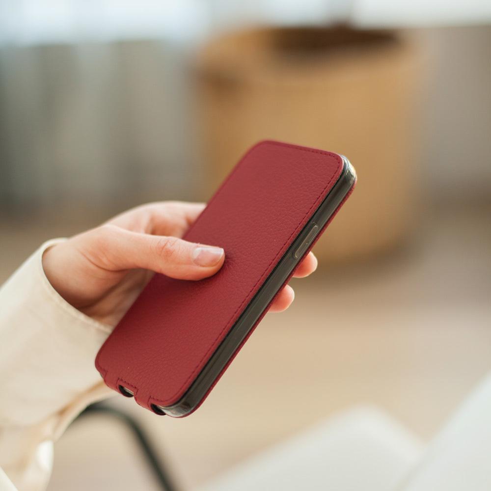 Чехол для iPhone 12/12Pro из натуральной кожи теленка, вишневого цвета