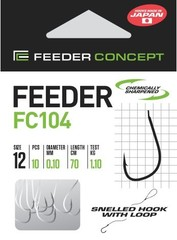 Крючки с поводком FC104 70 см, 0,10 мм, размер 12, упаковка 10 шт.